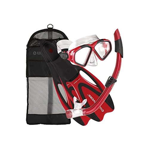 U.S. Divers Adult Cozumel Mask/Seabreeze II Snorkel/Proflex Fins/Gearbag, Small, Red
