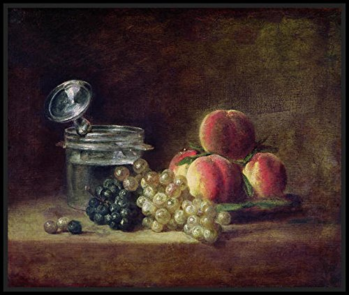 Still Life with a Basket of Peaches, White and Black Grapes with Cooler and Wineglass, c.1759