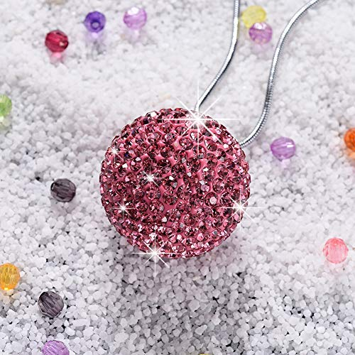 ATMOMO Rose Red Car Rear View Mirror Pendant Charm Rhinestone Hanging Ornament Lucky Crystal Ball Decoration