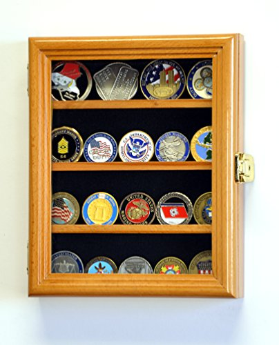 XS Military Challenge Coin Display Case Cabinet Holder Rack Box Holds up to 20 Coins, 98% UV, Lockable (Oak Challenge Coin)