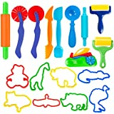 SPIEL 18 Pieces Durable Smart Clay Dough Tools Kit with Models and Molds Play Dough Cutters and Animal Modeling Set - Perfect for Kids