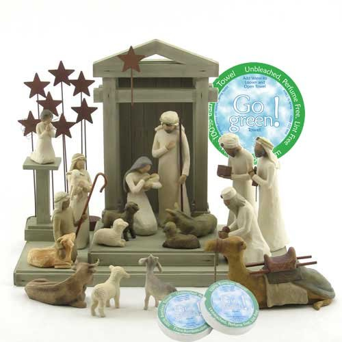 Willow Tree 19 Piece Nativity Set By Susan Lordi (With Ox and Goat) with Go Green! Compressed Bamboo Towels by Willow Tree