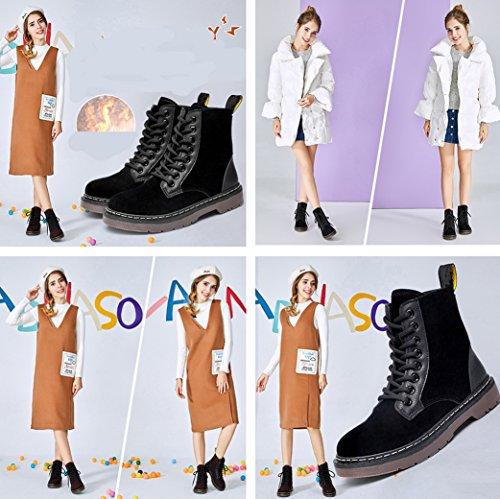 Gaorui Vrouwen Mode Martin Laarzen Winter Lace Up Platte Enkellaarzen Combat Laarzen Studs Kalf Riem Gesp Klinknagels Schoenen Bruin