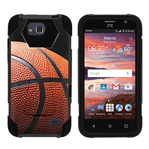 TurtleArmor | ZTE Maven Case | ZTE Fanfare Case | ZTE Atrium Case [Dynamic Shell] Dual Hybrid Hard Absorber High Impact Silicone Cover Kickstand Sports and Games Design – Basketball Seams