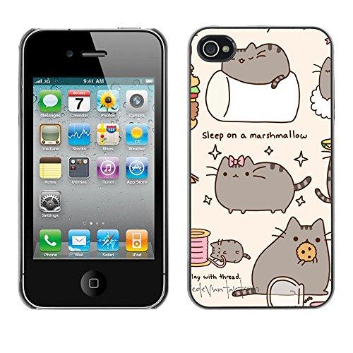 TaiTech / Case Cover Housse Coque étui - Pussy Cat Grey Sleep Marshmallow Play - Apple iPhone 4 / 4S