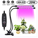 Povida L018 Dual Head LED Plant Grow Light ~2018 New Upgraded~ 9 Dimmable Levels 3, Red/Blue Spectrum