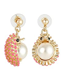 Ever Faith Animal Hedgehog Simulated Pearl Pink Enamel Dangle Earrings A10240-1