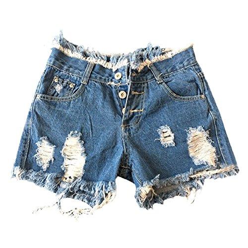 Pantaloni Jeans Strappati Casual Donna Shorts Moda Blu Eleganti Estivi Pantaloncini Skinny Vintage Buco Corti BvdHqwad