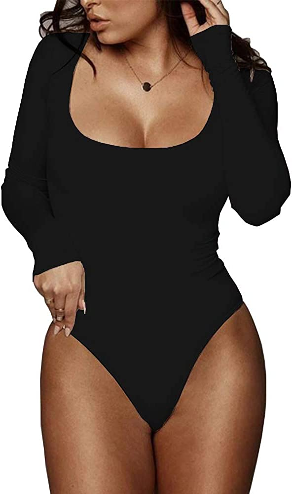 BelleLovin Women's Square Neck Long Sleeve T-Shirt Basic Bodysuit Jumpsuits