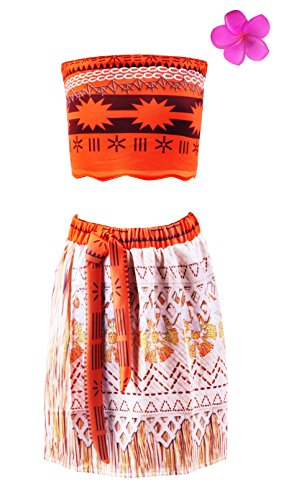 Padete Little Girl Princess Moana Adventure Costume Cosplay Dress Up (2-3 years, Orange) (Childrens Princess Outfits)