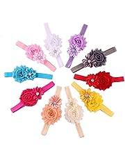10Pcs Baby Girls Headband Grosgrain Ribbon Flower Ribbon Bows Hair band for Kids 10 Colors a Set