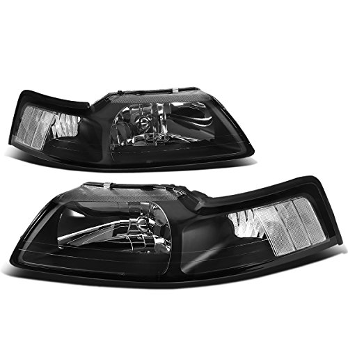 For Ford Mustang New Edge 4th Gen Pair of Black Housing Clear Corner Headlight ()