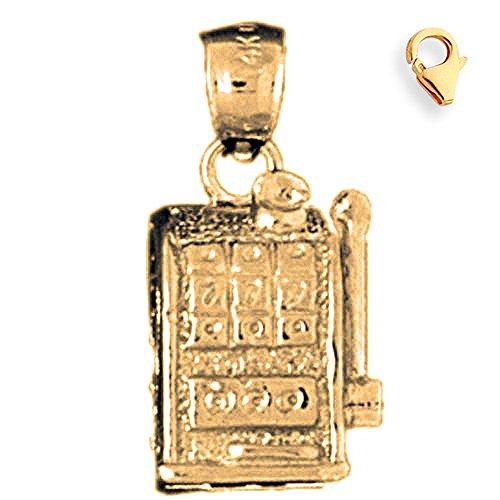 Jewels Obsession Slot Machine Charm | 14K Yellow Gold Slot Machine Charm Pendant - 21mm