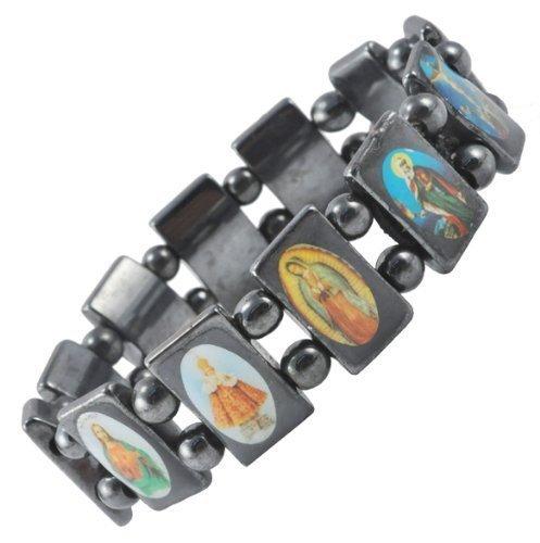 (Saint Icons Black Hematite Bracelet Rosary,jesus, Ann Rita, Mary by Bethlehem Gifts TM)