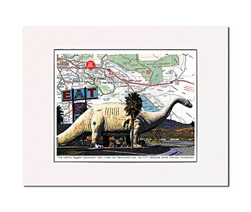 World's Largest Dinosaur, Cabazon, California, roadside attraction, art print, enhance your home or office. Gallery quality. Matted and - Map California Cabazon