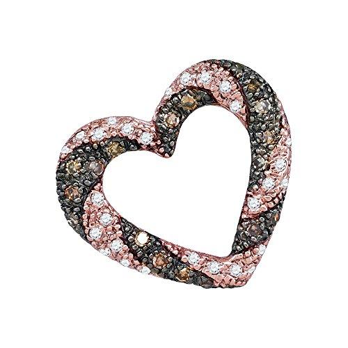 (10k Rose Gold Brown Diamond Striped Heart Pendant Love Charm Fashion Style Polished Fancy 1/4 Cttw)