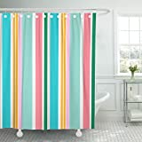 Pink and Green Striped Shower Curtain Emvency Shower Curtain Teal Striped Colorful Line Cheerful Colors Fun Stripes Blue Waterproof Polyester Fabric 72 x 72 Inches Set with Hooks