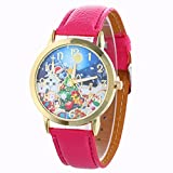 tool1 AMA(TM) Men Women Christmas Tree Presents Pattern Analog Quartz Vogue Wrist Watch (Hot Pink)
