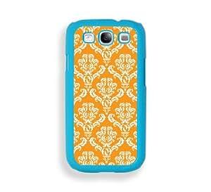 Damask Pumpkin Aqua Plastic Bumper Samsung Galaxy S3 SIII i9300 Case - Fits Samsung Galaxy S3 SIII i9300