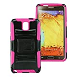 Customerfirst - Defender Shell Holster Combo Case For Samsung Galaxy Note 3 , Protective Skin Case Cover With Advanced Armor Impact Hybrid Soft Silicone Cover Hard Snap On Plastic Case Kick Stand with Belt Clip Holster Galaxy Note 3 - Includes Plunger Stand (H BLACK PINK)
