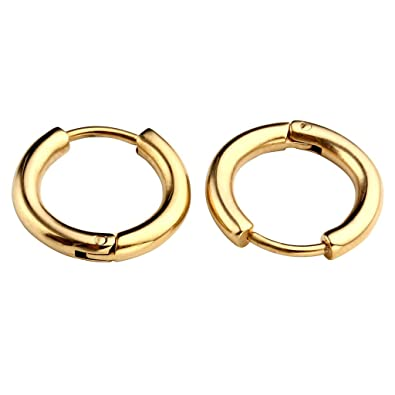 0fee5a9b87a91e JOVIVI 2pc Mens Womens Gold Stainless Steel Hoop Ring Huggies Ear Studs Earring  Jewelry, Sizes