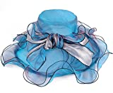 Women Sun Hat Kentucky Derby Organza Wedding Church Tea Party Hats for Women (6-Orange)