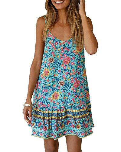 (Imysty Women's Boho Spaghetti Strap Sleeveless Summer Beach Floral Print Ruffle A line Swing Mini Dress Green)