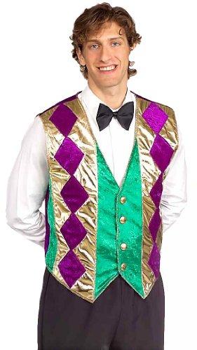 Forum Mardi Gras Vest, Green/Gold/Purple, Adult