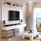 "tv wall units Manhattan Comfort City 2.2 Collection Floating Entertainment Center with TV Mount Wall Theater Display, 86.5"" L  x 14.9"" D  x 63.4"" H, White Gloss"