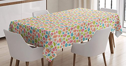 LEO BON Rectangle Table Cover Tea Time Theme Illustration of
