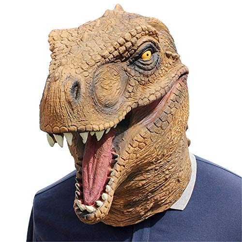 Creepy Horse Head Mask Full Face Latex Animal Party Unicorn Mask Halloween Costume Props Christmas Adults & Kids (Dinosaur2)]()