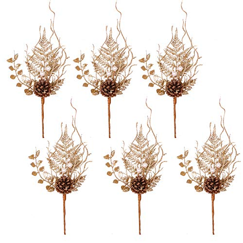 Valery Madelyn 6 Packs Rose Gold Glitter Christmas Picks with Artificial Pine Cone and Leaves for Christmas Flower Arrangements Wreaths and Holiday Decorations