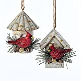 Pack of 12 Glittered Birch Birdhouses with Cardinals Christmas Ornaments 3''
