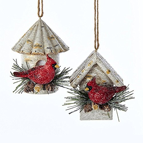 Pack of 12 Glittered Birch Birdhouses with Cardinals Christmas Ornaments 3'' by KSA