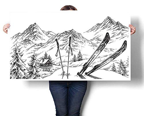 - Mangooly Contemporary Wall Art Winter Activity Skiing with Gear Set on The Mountain Peak Everest Sketchy Image Canvas Wall Art for Boys Room Baby Nursery Wall Decor Kids Room Boys Gift 48