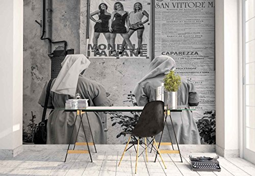 Photo wallpaper wall mural - Nuns Street Poster Girls Wall - Theme People - XXL - 13ft 8in x 9ft 6in (WxH) - 4 Pieces - Printed on 130gsm Non-Woven Paper - 1X-1000533VEXXXXL