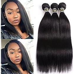 Peiyulex Human Hair Bundles 3 Pcs Brazilian Virgin Hair Straight Natural Human Hair Extensions 100% Unprocessed Human Hair Natural Black Color Soft Tangle Free (10 12 14 inch)