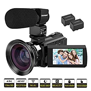 """Video Camera, Kenuo 4K Camcorder 48MP 4K Video Camera Ultra HD Digital Video Camera with External Microphone 3.0"""" Touch Screen IR Night Vision 16X Digital Zoom Cameras with Wide Angle Lens,2 Batteries"""