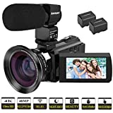 "Video Camera, Kenuo 4K Camcorder 48MP 4K Video Camera Ultra HD Digital Video Camera with External Microphone 3.0"" Touch Screen IR Night Vision 16X Digital Zoom Cameras with Wide Angle Lens,2 Batteries"