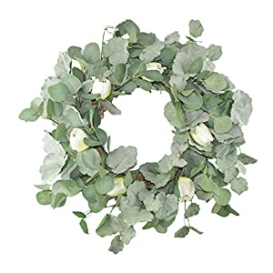 Emlyn 20'' Green Leaf Eucalyptus Wreath for Spring/Summer Festival Celebration Front Door/Wall/Fireplace Laurel/Tulip Hanger Home Relaxed Decor 8