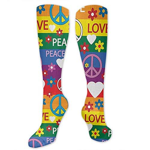 NGkIm Heart Peace Symbol Flower Power Political Hippie Cheerful Colors Festival Joyful Unisex Novelty Socks - Best Medical,for Running,Athletic,Varicose Veins,Travel