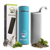 Multi-Use Beverage Tumbler & Travel Mug by Tea Efficiency|Loose Leaf Tea Infuser Water Bottle|Fruit Infused Flask|Hot & Cold Double Wall Insulated Stainless Steel Thermos for Brew Coffee (Turquoise)