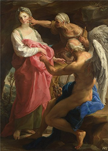 Oil Painting 'Pompeo Girolamo Batoni Time Orders Old Age To Destroy Beauty' 30 x 42 inch / 76 x 106 cm , on High Definition HD canvas prints is for Gifts And Bath Room, Gym And Laundry Room Decoration (Time Orders Old Age To Destroy Beauty)