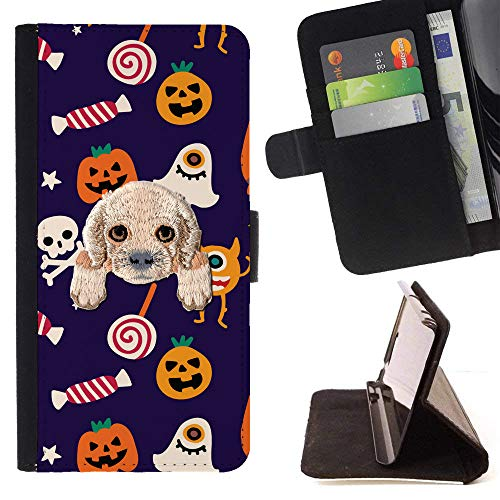 ([ Cocker Spaniel ] Embroidered Cute Dog Puppy Leather Wallet Case for Samsung Galaxy A5 (2017) [ Halloween Candy Pattern)