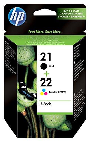 3910 Ink - HP 21 Black & 22 Tri-color Ink Cartridges, 2 Cartridges (C9351AN, C9352AN) for HP Deskjet D1311 D1320 D1330 D1341 D1420 D1430 D1445 D1520 D1530 D2330 D2460 F340 HP Officejet 4315 J3640 J3680 1410