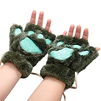 Arshiner Women Bear Plush Cat Paw Claw Glove Soft Winter Gloves (Green)