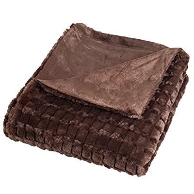 Lavish Home Plush Striped Embossed Faux Fur Mink Throw Blanket, Brown - Pattern: striped embossed faux fur Materials: 100-percent polyester Face material: PV fur - blankets-throws, bedroom-sheets-comforters, bedroom - 51Hy30Fj6%2BL. SS400  -