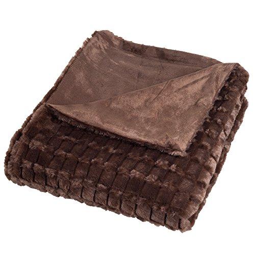 Lavish Home Plush Striped Embossed Faux Fur Mink Throw Blank