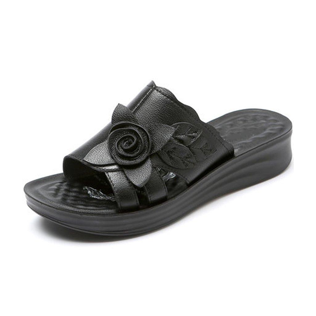 YUBIN Flip Flop Fondo Blando Desgaste por Fuera Grueso Fondo Plano Cómodo Antideslizante Sandalias De Mujer Soft Cool Cool Zapatos De Cuero (Color : A, Tamaño : 36) 36|A