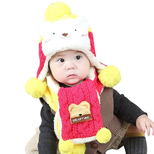 Dhs Ice - DHS H.S.D Baby Kids Little Girls Boys Lovely Hat and Scarf Set For Winter